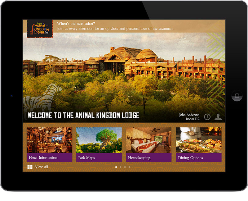Intelity Guest Services Technology branded for Walt Disney World's Animal Kingdom Lodge